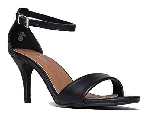 J. Adams Low Ankle Strap Kitten Heel - Essential Mid Heel Open Toe Dress Sandal - Dove