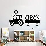 Pegatinas Pared Murales Salón De Belleza Vinilo Infantil Tractor Personalizado Dormitorio Niños Niñas Niños Habitación Vinilos Decorativos 57X29cm