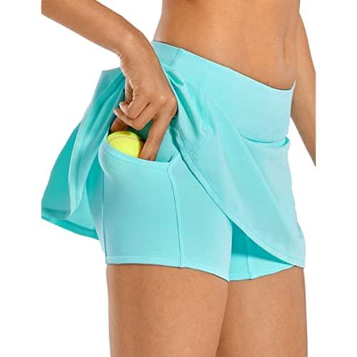 Pantalones de Falda Corta Plisados a la Moda para Mujer Pantalones Cortos de Tenis de Ping Pong de Yoga de Doble Capa de Cintura Alta de Verano