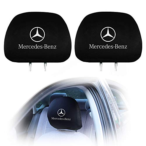 Lisha 2-Piece Printed Car Seat Headrest Cover for Mercedes Benz, Black Breathable Flexible Headrest Covers Fit for Mercedes Most Models