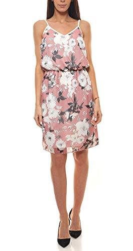 Laura Scott Kleid Spaghetti-Kleid wunderschönes Damen Jersey-Kleid Freizeit-Kleid Sommer-Kleid mit Blumen-Muster Rosa, Größe:38
