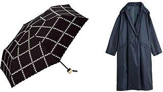 【セット買い】ワールドパーティー(Wpc.) 日傘 折りたたみ傘 黒 50cm レディース 傘袋付き ラインフラワー刺繍ミニ 801-8577 BK+レインコート ポンチョ レインウェア ネイビー FREE レディース 収納袋付き R-1109 NV