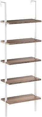 Nathan James Theo 5-Shelf Wood Modern Bookcase, Open Wall Mount Ladder Bookshelf with Industrial Metal Frame, Light Brown Oak