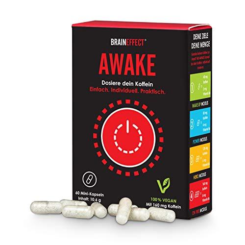 BRAINEFFECT AWAKE - Upgraded Koffeintabletten - 60 Kapseln - Individuell Dosierbarer Wachmacher mit Vit B6 - Vegan