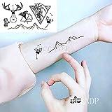 Tatuaje temporal a prueba de agua Pegatinas de dibujos animados encantador cabeza de perro animal Fake Tatto Flash Tatoo tatuajes pequeños para niña Mujer Hombre niño-Monocromo