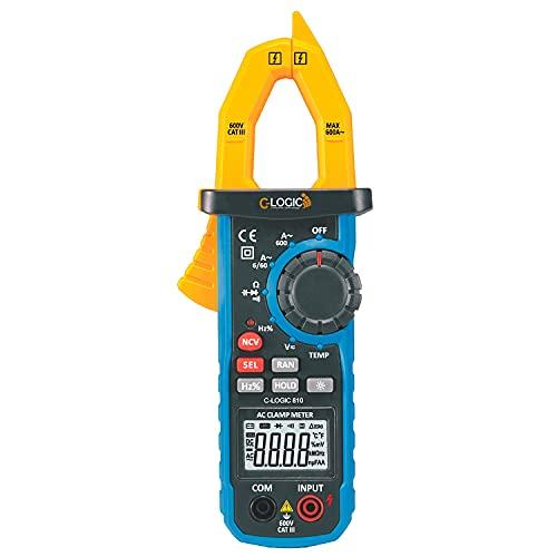 C-LOGIC 810 Pinza Amperimétrica Digital Profesional 6000 Cuentas NCV y Luz de Trabajo Tensión AC/DC 600V Corriente AC 600A Resistencia Capacitancia Frecuencia Temperatura Apertura 26mm. CAT III