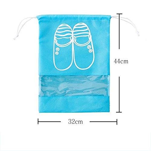 MZP Chaussures sac de voyage chaussure sac cordonnet chaussures poussière sac de cordon de serrage 10 monté guêtres finition sac à chaussures , days blue medium 10 pack