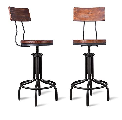 GWAREZ Set of 2 Industrial Bar Stool-Adjustable Height Swivel Farmhouse Kitchen Dining Breakfast Bar Chair-Cast Iron-22-26Inch Tall Counter Bar Height -with Backrest