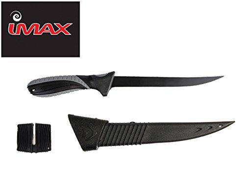 Imax Filetiermesser inkl. Messerschärfer, Angelmesser, Fischmesser, Anglermesser inkl. Messerscheide, Messer mit gummierem Griff, 15,5cm Klinge