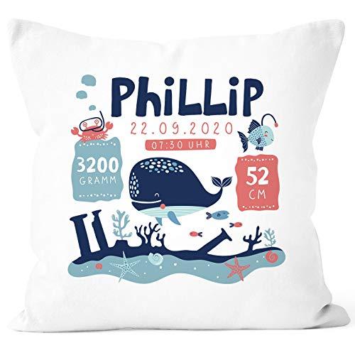 SpecialMe® personalisierbare Kissen-Hülle zur Geburt Unterwasser-Welt Namenskissen Geschenk Geburt Baby Wal weiß Unisize