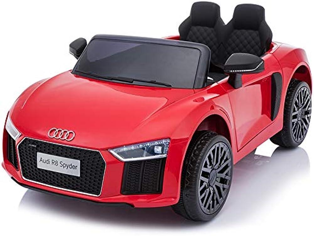 Toyscar,auto, macchina elettrica 12v,audi r8 spyder per bambini, led mp3 con telecomando sedili in pelle