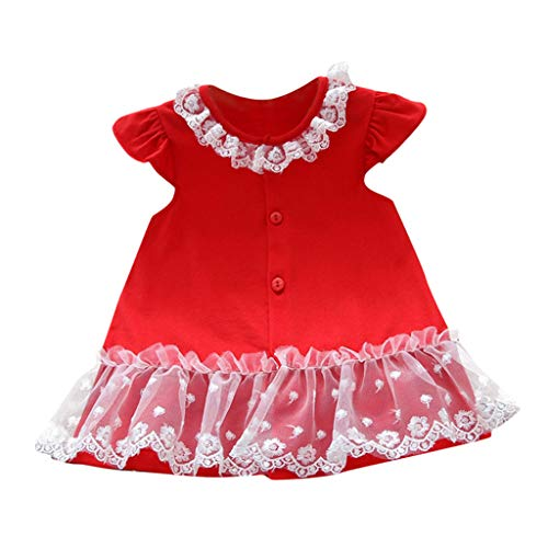 Giulot Toddler Baby Girl Solid Lace Top Dress Ruffle Ruched Mini Dress Summer Button Jumper Skirt Tulle Vest Dress Red