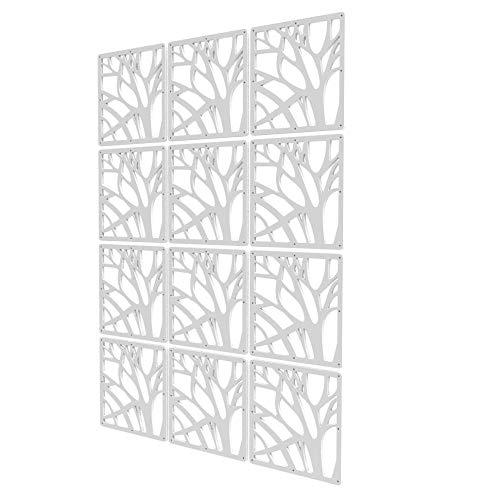 Divisores De Ambientes de 12 Piezas - 83x117.5cm - Blanco Panel De Separacion Patrón De Árbol Biombos Separadores Grandes...