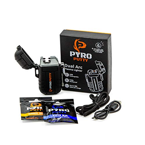 PYRO Putty Dual ARC Lighter | USB Rechargable (Dual Arc Lighter + 1 Winter & 1 Summer Single Use Packet)