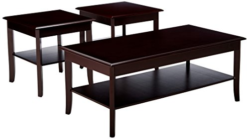 kings furniture pc brands Kings Brand Furniture 3 Piece Wood Occasional Coffee Table & 2 End Tables Set, Cherry