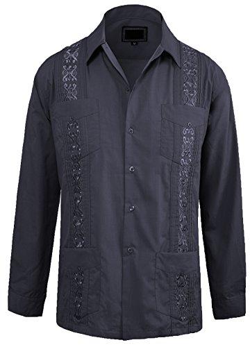 Guytalk Men's Cuban Guayabera Button-Down Long Sleeve Shirt Small Dark Grey