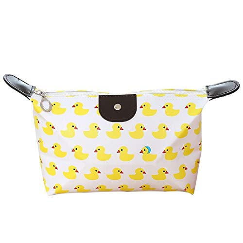 KYHS Portable Cosmetic Bag Foldable Large-capacity Travel Storage Bag PU Waterproof Cosmetic Bottle Carrying Storage Bag (Little yellow duck)