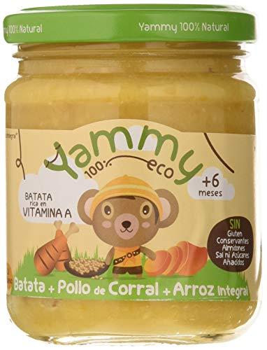 Yammy, Potito Ecológico de Pollo (Batata, Pollo de Corral, Arroz Integral) - 12 tarritos de 195 gr. - 100% natural / 100% ecológico