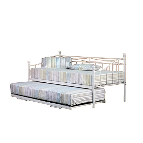 Comfy Living 3ft Single White Paris Metal Daybed and Trundle with Tanya Mattresses