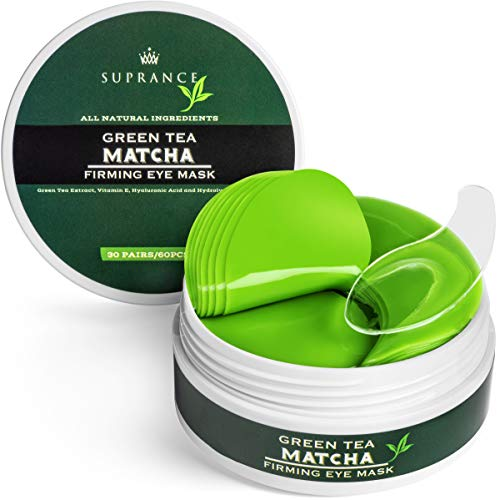 Green Tea Matcha Eye Mask by SUPRANCE - Under Eye Patches Treatment for Dark Circles, Eye Bags, Puffiness - Anti-Wrinkle With Hyaluronic Acid and Collagen - 30 Pairs/60 Pcs.