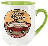 vanVerden Taza Curved – Mein Bus Meine Reglas – Camping Vanlife Camper Viajes en las montañas – Impresión por ambos lados – Idea de regalo taza de café, color blanco y verde