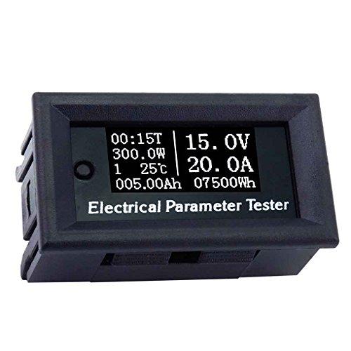 Wiivilik 100V 20A 7in1 OLED-Multifunktions Kapazität Meter, 7in1 OLED Multifunktions-Tester Spannung Strom Zeit Temperatur Kapazität Voltmeter Amperemeter Stromzähler