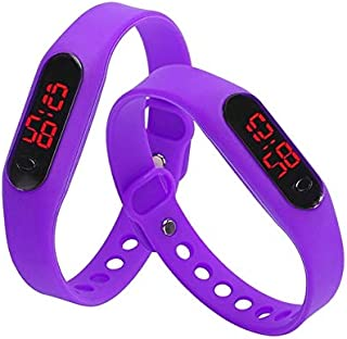 Perfect Home Modern Delicate Sports Watches Rubber LED Women Mens Date Sports Bracelet Digital Wrist Watch Fashion (Color : Purple)