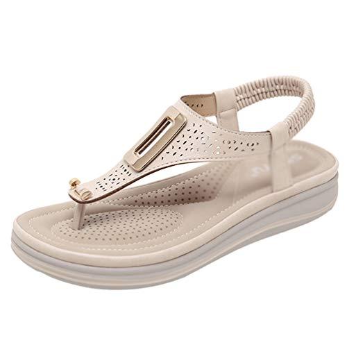 Yijinstyle Frauen Strand Peep-Toe Flip Flops T-Shape Sandalen Atmungsaktive Hausschuhe Sandalen (Aprikose, 42 EU)