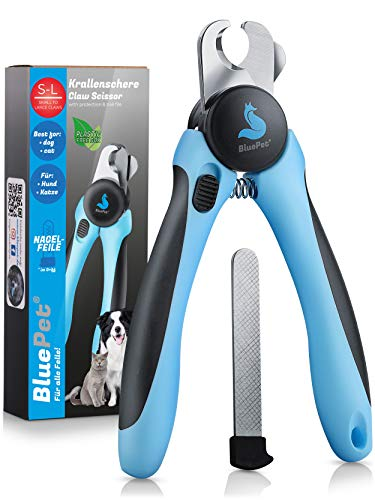 Bluepet® Krallenschere mit Schutz für Hunde & Katzen - Krallenschneider Krallenzange für Zuhause - Nagelschere auch für Kaninchen - Meerschweinchen & Nager inkl. Nagelfeile im Griff
