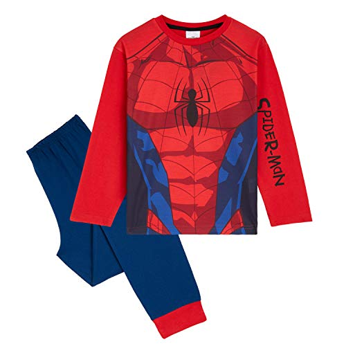 Marvel Schlafanzug Jungen Lang, Spiderman Schlafanzug Kinder Jungen Zweiteilige Kinder Schlafanzug Set, Baby Teenager 18 Monate-14 Jahre Geschenke für Kinder (7-8 Jahre)