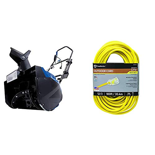 Snow Joe SJ623E 18-Inch 15-Amp Electric Single Stage Snow Thrower w/Headlights, Motor & Southwire Outdoor Cord-12/3 American Made SJTW Heavy Duty 3 Prong Extension Cord, Yellow, 100 Feet