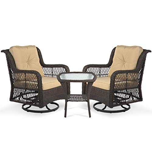 Aoxun 3-Piece Rocking Rattan Chair Outdoor, Patio Bistro Furniture Sets, 2 Cushioned Swivel Wicker Chair with Coffee Table, Beige