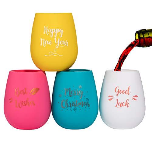 WOGREZ 4PCS Weihnachten Silikon Weingläser Unbreakable Spülmaschinenfest Bruchsicher Stemless Kunststoff Weinglas für Party wichtelgeschenke Weihnachten