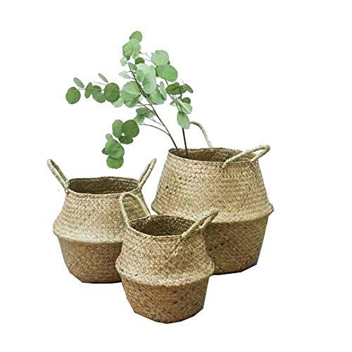 3er Set Wäschekorb - GOODCHANCEUK Faltbar Seegras Blumenkorb Handgewebt Blumen Stroh Korb für Pflanze Blumentopf mit Griffen