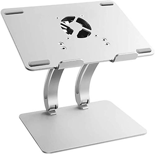 FFLSDR Laptop Stand Vertical Laptop with Cooling Fan Multi-Angle Adjustable Ergonomic Metal Bracket Base for MacBook, Apple Notebooks, 13'-17' Tablet, Silver