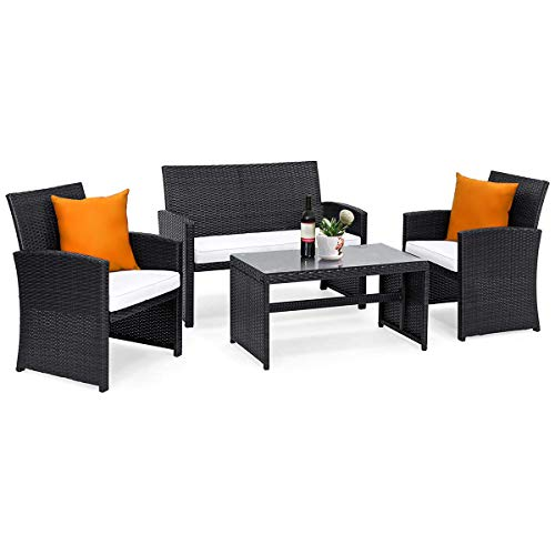 Goplus 4-Piece Rattan Patio Furniture Set with Weather Resistant Cushions and Tempered Glass Tabletop for Garden Lawn Pool Backyard Outdoor Sofa Wicker Conversation Set (Mix Black)