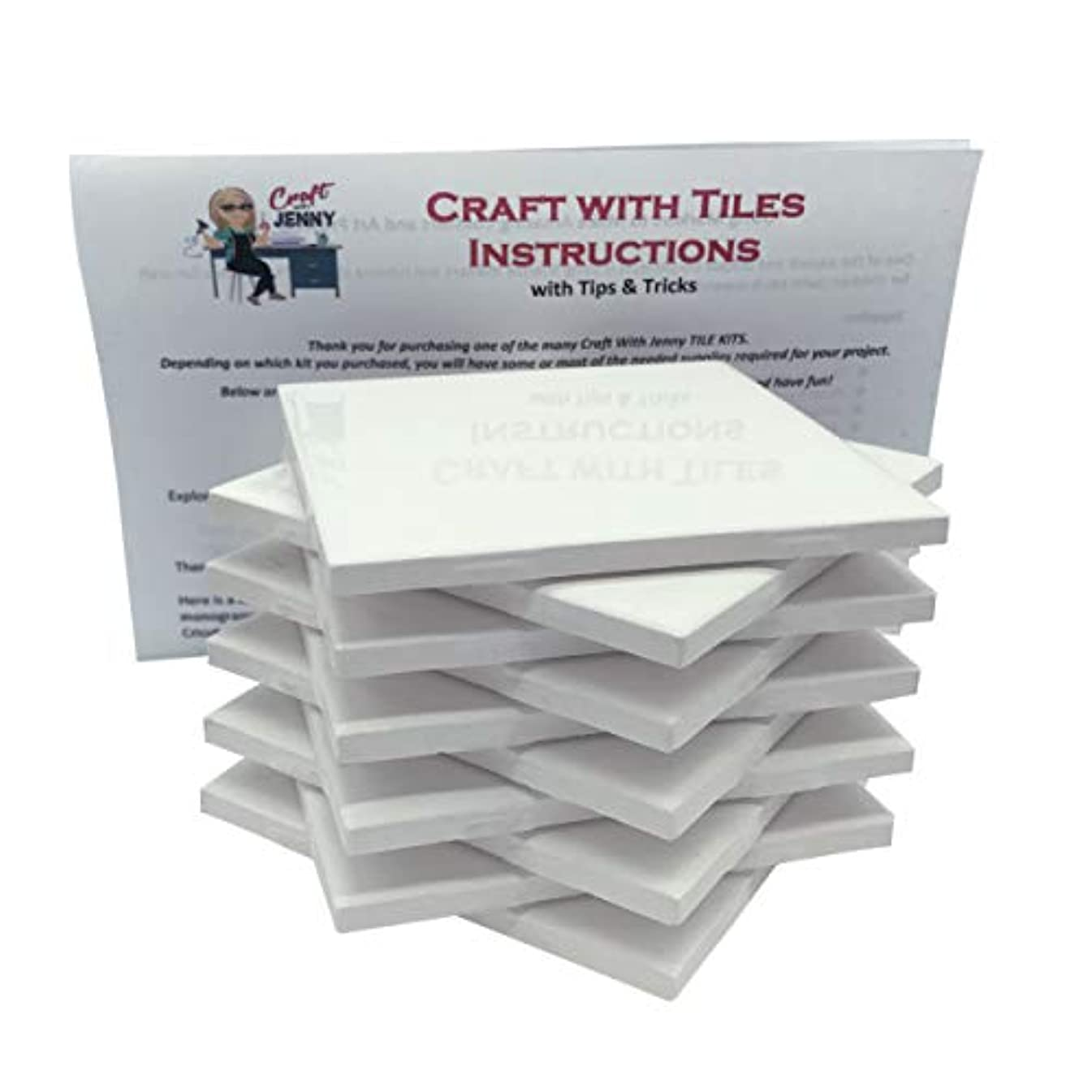 Coaster Tile Craft Kit, Set of 10 Ceramic White Tiles 4x4, with Detailed Instructions Plus Tips and Tricks, DIY Make Your Own Coasters, Mosaics, Painting Projects, Decoupage