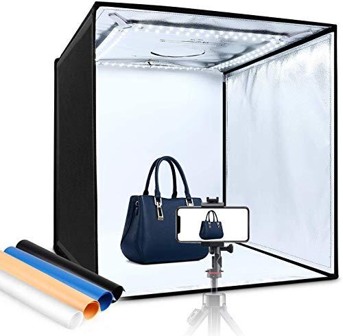 Amzdeal Photo Studio, Kit Studio Photo 60 * 60 * 60 cm Portable et Pliable, LED Éclairage Lumière du Jour 5000LM 5500K, Fixation Velcros, 3 Fenêtres de Shooting, 4 Fonds (Bleu, Blanc, Noir, Orange)