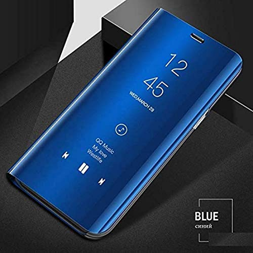 YES2GOOD Clear View Stand Mirror Flip Cover for Oppo Find X (Diamond Blue)