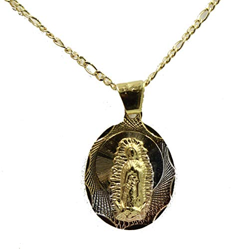 Diamantados of Florida Virgen de Guadalupe Oval Medalla-Nuestra señora de Guadalaupe Medalla Chapado en Oro de 14K Tres Tono Oro Oval Colgante con Cadena de 18Pulgadas