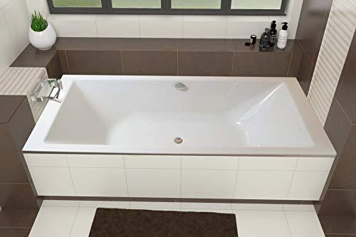 ECOLAM große Badewanne Wanne Borneo Rechteck Design Acryl weiß 200x90 cm + Ablaufgarnitur Ab- und Überlauf Automatik Füße Silikon Mittelablauf ideal für Zwei