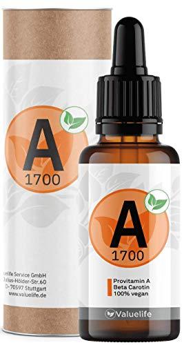 Pro-Vitamin A Tropfen I Original aus Dunaliella Salina Algen mit Beta-Carotin I Hochdosiert, natürlich, vegan & ohne Zusatzstoffe I 170 Portionen a 5000 iE von VALUELIFE