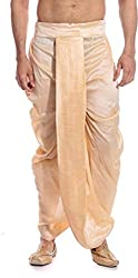 Larwa Mens Beige Free Size Dhoti Special for Diwali