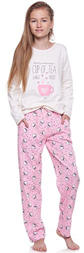 Merry Style Mädchen und Jugendlicher Schlafanzug 1033 (Ecru-1A, 146)