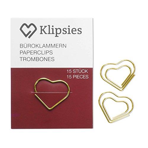 KLIPSIES Herz (Design wählbar) 15 Deko Büroklammern Motiv Heftklammern 1x15 Stück Gold