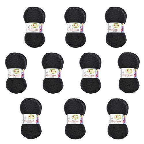 Melissa Hilo Acrílico Ovillo de Lana (200m 100g *10)Premium para DIY Tejer y Ganchillo,Certificado OEKO-TEX Standard 100,agujas talla 4(1/2)-5,Negro 40,Mediana,Enviado desde Europa