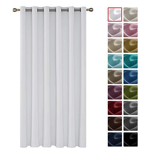 Deconovo Verdunkelungsgardine mit Ösen Gardinen Wohnzimmer Vorhang Blickdicht 290x200 cm Grau Weiß 1 Stück