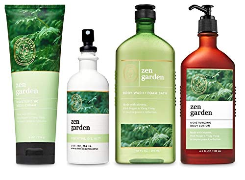 Bath and Body Works Aromatherapy NEW ZEN GARDEN Gift Set - Body Lotion 6.5 oz, Body Wash Foam Bath 10 oz, Essential Oil Mist 5.3 oz & Body cream 8 oz - Bath & Body Set