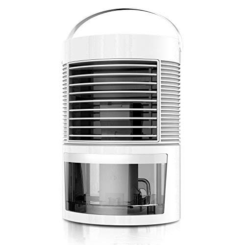 Portable Air Conditioner, Personal Evaporative Air Cooler / Humidifier Purifier, Noiseless Mini Desktop Misting Fan with Handle Design, 3 Speeds Fan & 7 Colors LED Light