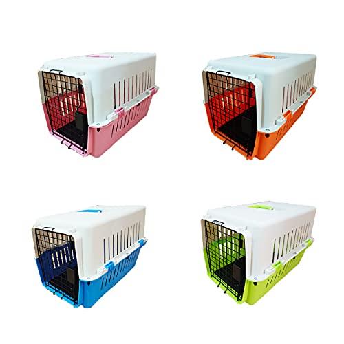 カラー豊富! ペットキャリーケース Lサイズ ハードタイプ 中型犬用 61×40×39cm 濃青・緑・ピンク・オレンジ・青